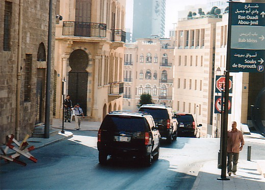 Filming in Beirut - security screaming for taking photos of Security cars